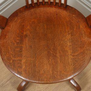 Antique Edwardian Oak Revolving Swivel Office Desk Arm Chair (Circa 1900)