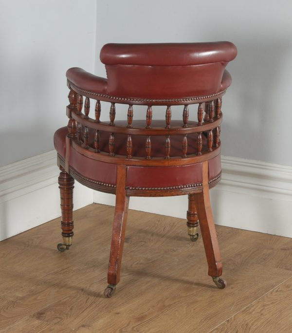 Antique English Victorian Walnut Burgundy Red Leather Office Desk Arm Chair (Circa 1880)- yolagray.com