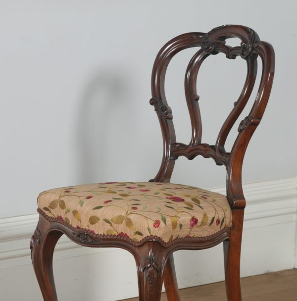 Antique English Victorian Set of Four Walnut Dining Chairs (Circa 1860) - yolagray.com