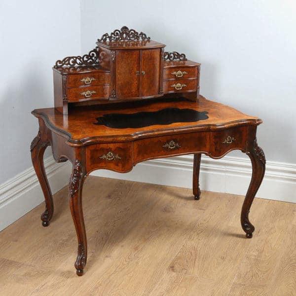yolagray.com Antique Louis XV Revival French Walnut & Leather Bonheur Du Jour Desk (Circa 1870)