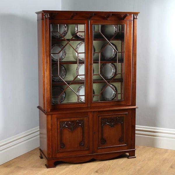 yolagray.com Antique Victorian Art Nouveau Mahogany Glass Bookcase by James Shoolbred & Co. (Circa 1890)
