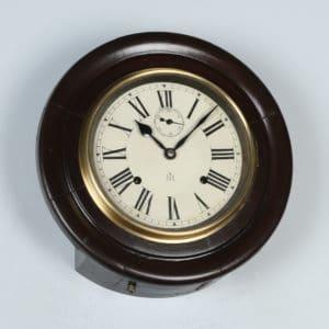 "Antique 12"" Welaiti Mahogany Railway Station / School Round Dial Wall Clock (Chiming)- yolagray.com"