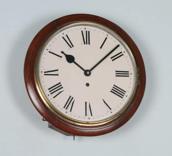 "Antique 15"" Smiths Mahogany Railway Station / School Round Dial Wall Clock (Timepiece)- yolagray.com"