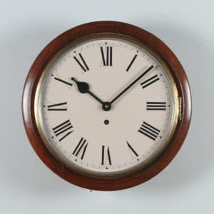 Antique 15″ Smiths Mahogany Railway Station / School Round Dial Wall Clock (Timepiece)