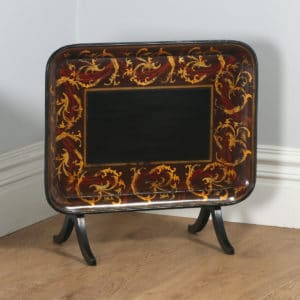 Antique English Georgian Regency Papier Mache Ebonised Gilt Folding Drinks Tray On Stand (Circa 1830) - yolagray.com