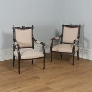 Antique French Pair of Louis XVI Style Walnut Salon Occasional Armchairs (Circa 1880)- yolagray.com