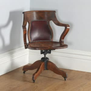 Antique Edwardian Oak & Leather Revolving Swivel Office Desk Arm Chair (Circa 1905)- yolagray.com