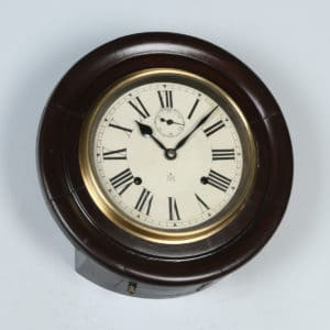 "Antique 12"" Welaiti Mahogany Railway Station / School Round Dial Wall Clock (Chiming) - yolagray.com"