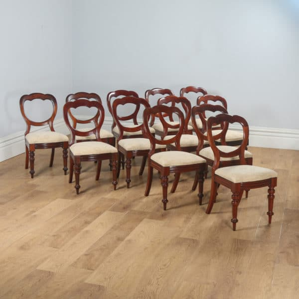Antique English Victorian Set of 12 Mahogany Crown Back Dining Chairs (Circa 1860) - yolagray.com