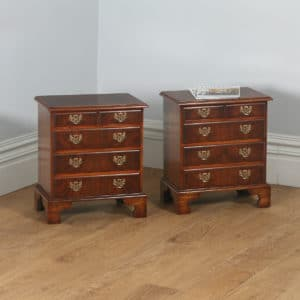 Pair of English Georgian Style Burr Walnut Bachelor Bedside Chests of Drawers (Circa 1970)- yolagray.com
