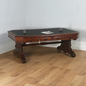 "Antique English Victorian 6ft 6"" Oak & Leather Library Table by Lamb of Manchester (Circa 1850) - yolagray.com"