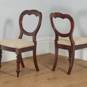 Antique English Victorian Set of 12 Mahogany Crown Back Dining Chairs (Circa 1860)