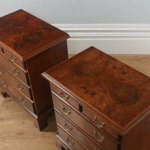 Pair of English Georgian Style Burr Walnut Bachelor Bedside Chests of Drawers (Circa 1970)