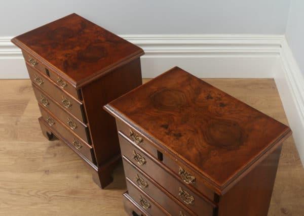 Pair of English Georgian Style Burr Walnut Bachelor Bedside Chests of Drawers (Circa 1970)- yolagray.com