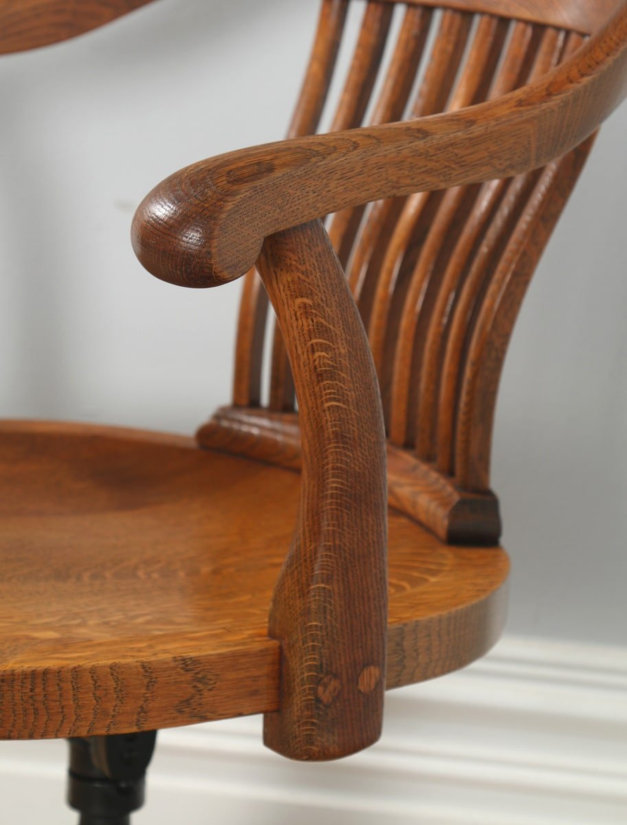 Antique edwardian oak revolving swivel office desk arm for Furniture kelsall