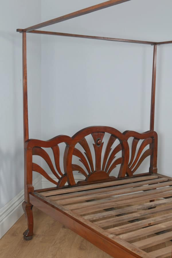 Antique King Size Art Deco Colonial Raj Mahogany Four Poster Bed (Circa 1920) - yolagray.com