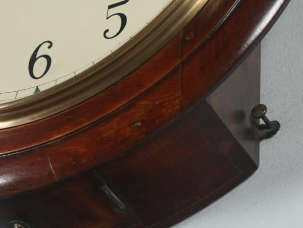 "Antique 16"" Mahogany Anglo Swiss Railway Station / School Round Dial Wall Clock (Timepiece)- yolagray.com"