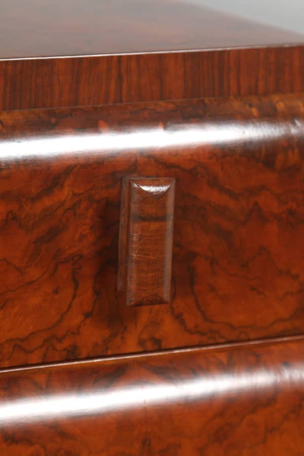 Antique English Pair of Art Deco Burr Walnut Bedside Chests (Circa 1930)- yolagray.com
