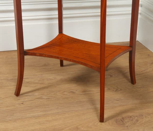 Antique English Edwardian Sheraton Style Satinwood & Marquetry Oval Occasional Centre Side Table (Circa 1905)- yolagray.com