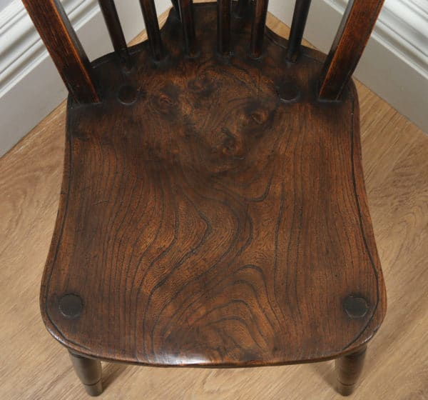 Antique Set of Four Victorian Ash & Elm Country Stick Back Kitchen Dining Chairs (Circa 1900) - yolagray.com