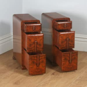 Antique English Pair of Art Deco Burr Walnut Bedside Chests (Circa 1930)