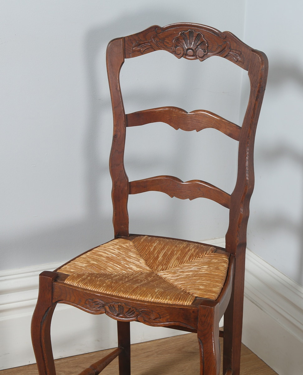 French Kitchen Chairs: Antique Set Of 10 French Louis XV Style Oak Ladder Back