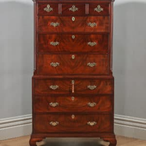 Antique Georgian Chippendale Flame Mahogany Tallboy / Chest on Chest (Circa 1760)