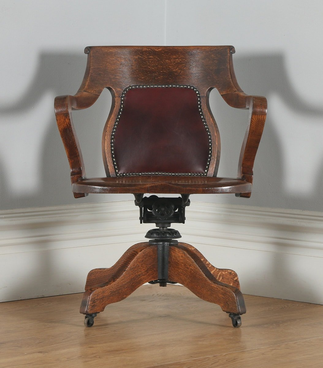 Oak Dining Room Chairs For Sale Antique Edwardian Oak Amp Leather Revolving Swivel Office