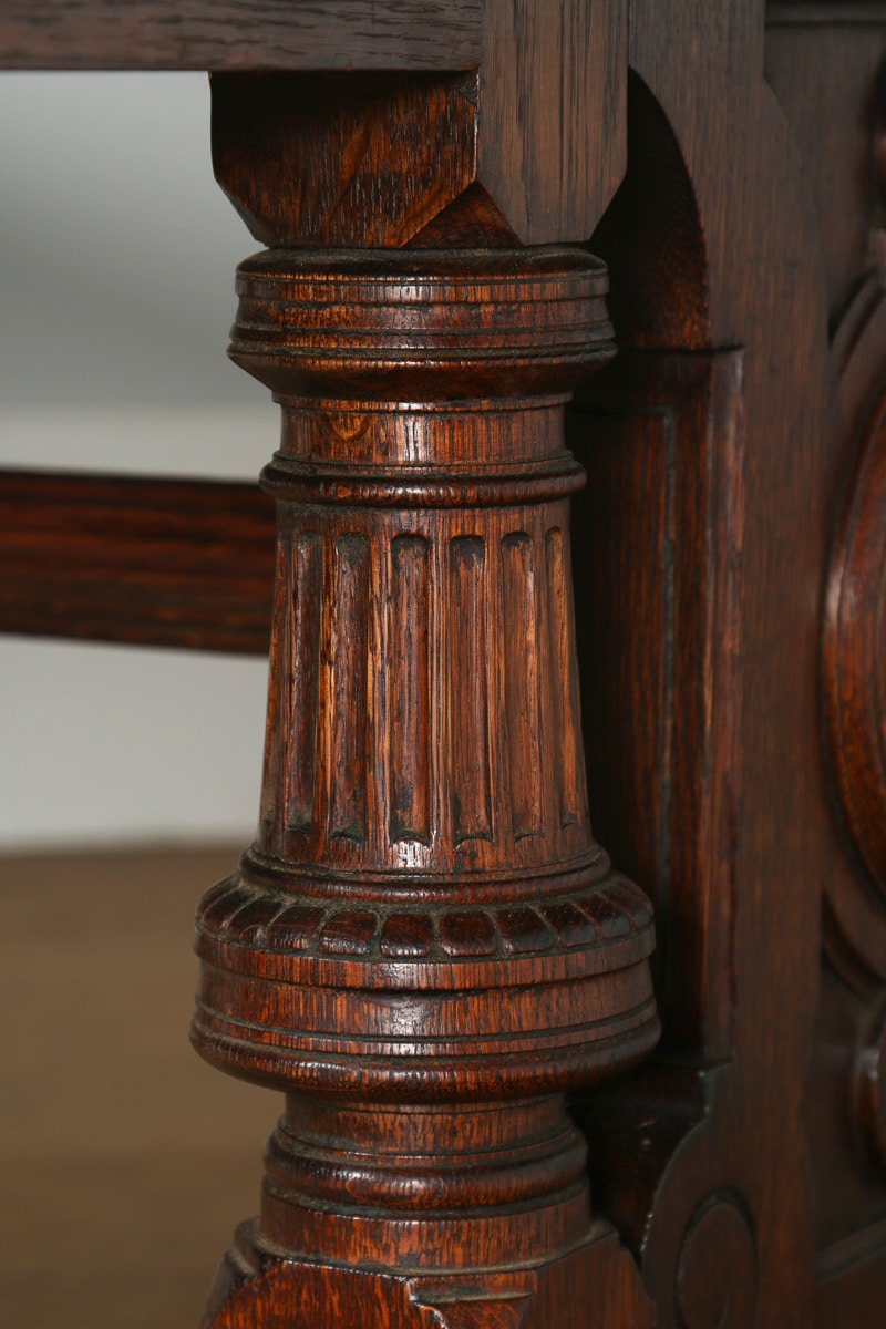 Antique English Victorian 6ft 6 Oak Amp Leather Library