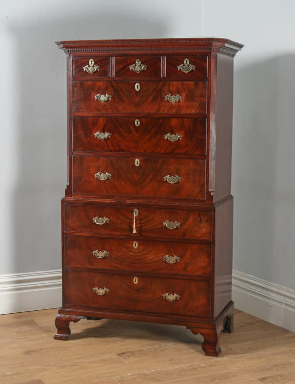 Antique Georgian Chippendale Flame Mahogany Tallboy / Chest on Chest (Circa 1760) - yolagray.com
