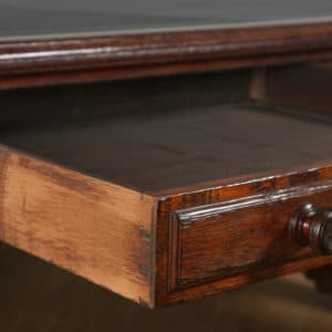 "Antique English Victorian 6ft 6"" Oak & Leather Library Table by Lamb of Manchester (Circa 1850)"