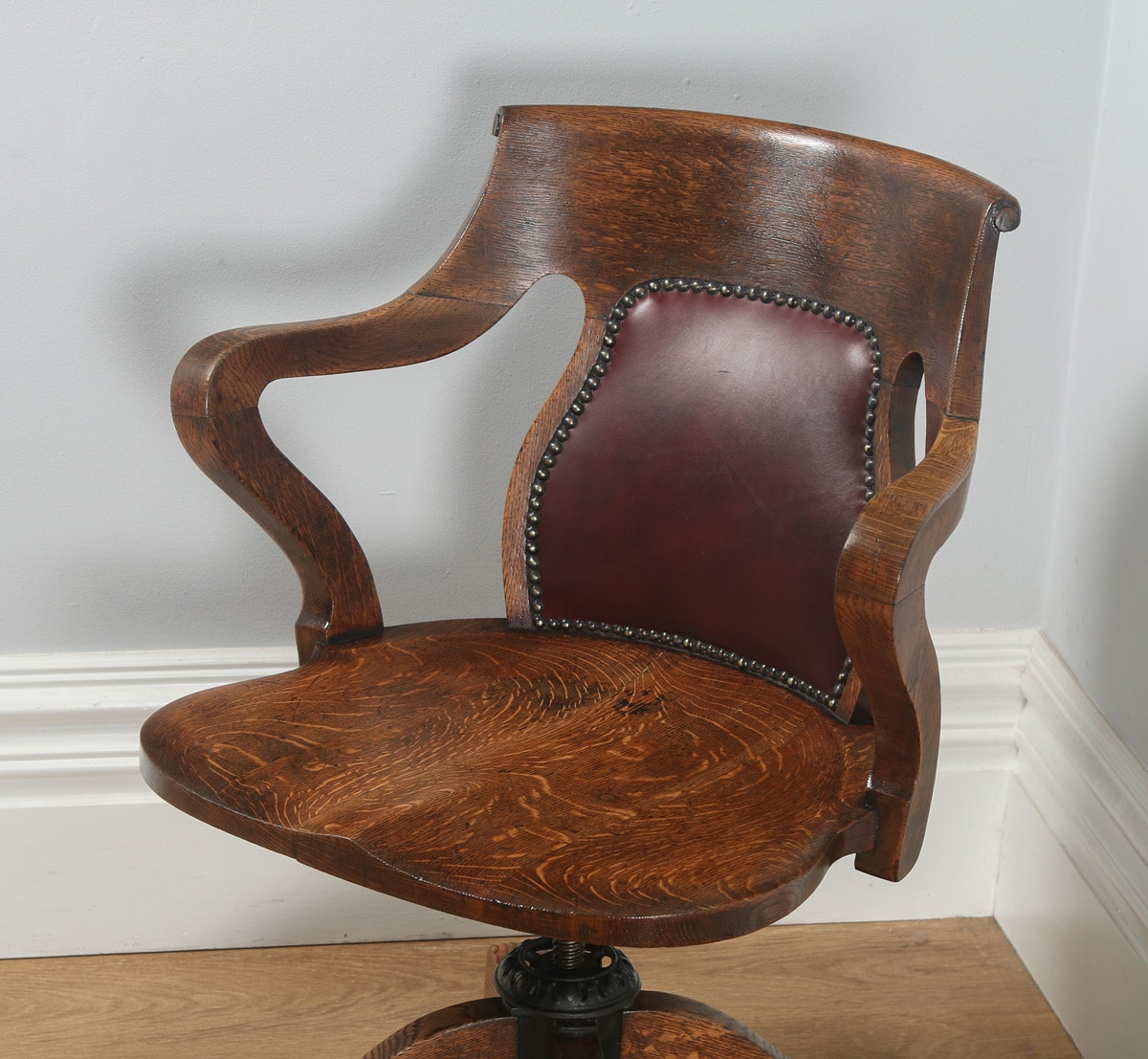 Oak Chairs With Arms ~ Antique edwardian oak leather revolving swivel office
