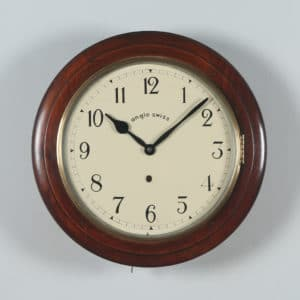 Antique 16″ Mahogany Anglo Swiss Railway Station / School Round Dial Wall Clock (Timepiece)