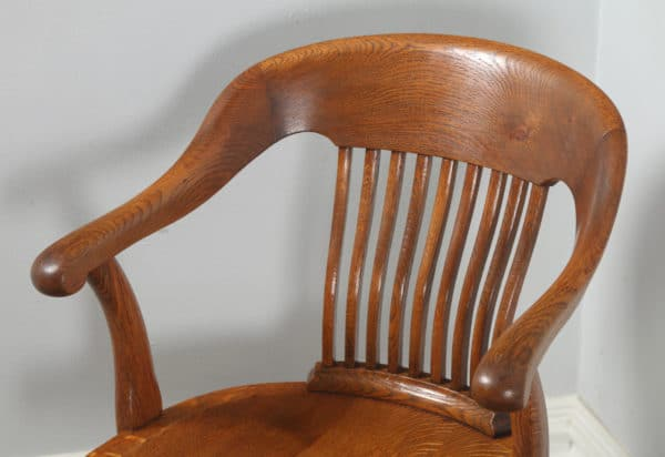 Antique Edwardian Oak Revolving Swivel Office Desk Arm Chair (Circa 1910)- yolagray.com