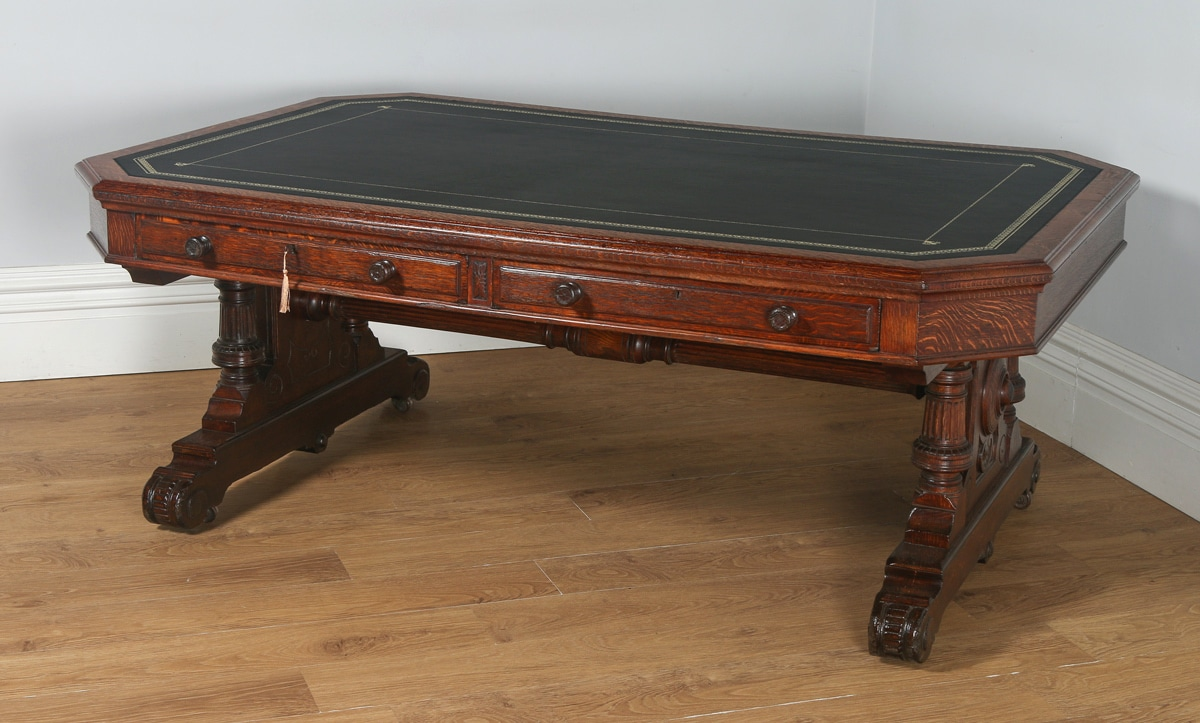 Antique English Victorian 6ft 6u201d Oak U0026 Leather Library Table By Lamb Of  Manchester (