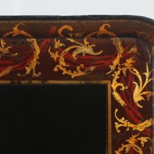 Antique English Georgian Regency Papier Mache Ebonised Gilt Folding Drinks Tray On Stand (Circa 1830) - yolagray.com
