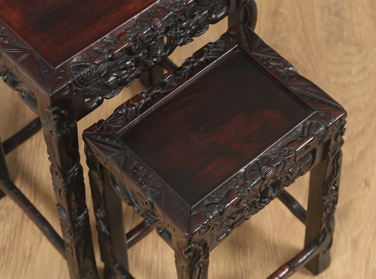 Chinese nesting tables images bar height dining table set antique chinese oriental qing dynasty set of three carved wood nest watchthetrailerfo