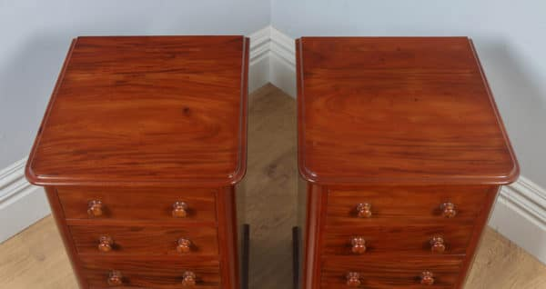 Antique Pair of English Victorian Figured Mahogany Bedside Chests (Circa 1860) - yolagray.com