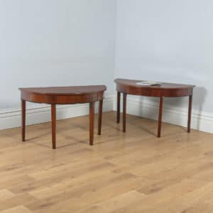 Antique English Pair of Georgian Mahogany Demi Lune Console Side Hall Tables (Circa 1790) - yolagray.com