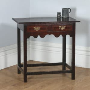 Antique English Georgian Inlaid Country Oak Side / Hall Table (Circa 1750) - yolagray.com