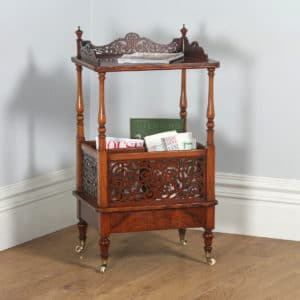 Antique English Victorian Burr Walnut Canterbury Whatnot Magazine Tidy (Circa 1860) - yolagray.com