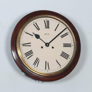 "Antique 15"" Mahogany Smiths Railway Station / School Wall Clock (Chiming) - yolagray.com"