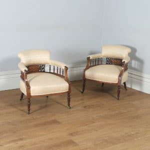 Antique Edwardian Pair of Rosewood & Mahogany Marquetry Inlaid Salon Armchairs (Circa 1900) - yolagray.com