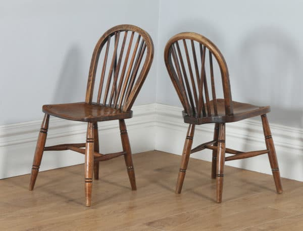 Antique Set of Ten Victorian Ash & Elm Stick Back Kitchen Dining Chairs (Circa 1900) - yolagray.com