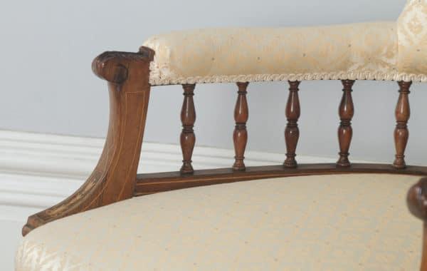 Antique Edwardian Pair of Rosewood & Mahogany Marquetry Inlaid Salon Armchairs (Circa 1900) - yolagray.com