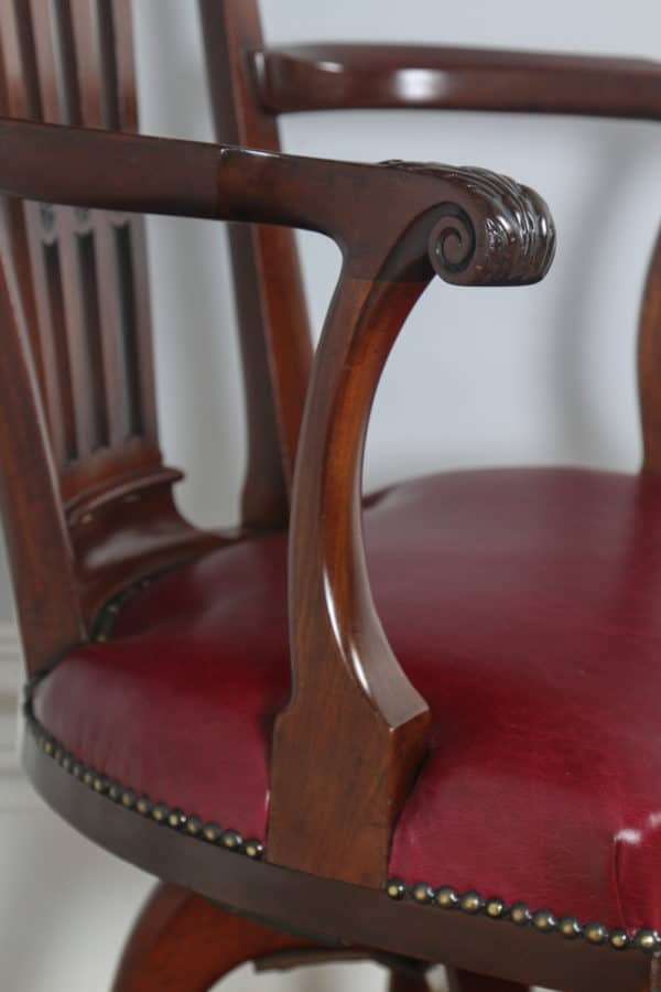 Antique English Georgian Chippendale Style Mahogany & Leather Revolving Desk Chair (Circa 1890) - yolagray.com