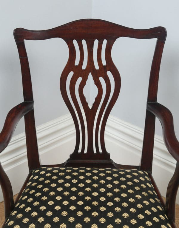 Antique English Set of Four Georgian Chippendale Mahogany Dining Chairs (Circa 1800) - yolagray.com