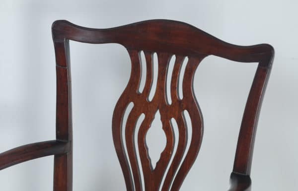 Antique English Pair of Georgian Chippendale Mahogany Office Desk Carver Arm Chairs (Circa 1800)