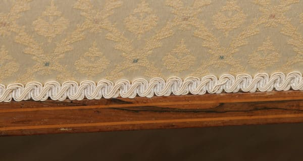 Antique Edwardian Rosewood & Mahogany Marquetry Inlaid Upholstered Two Seat Salon Couch (Circa 1900) - yolagray.com