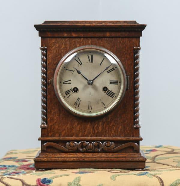 "Antique 11½"" German Gustav Becker Oak Round Dial Mantel Clock (Chiming / Striker) - yolagray.com"